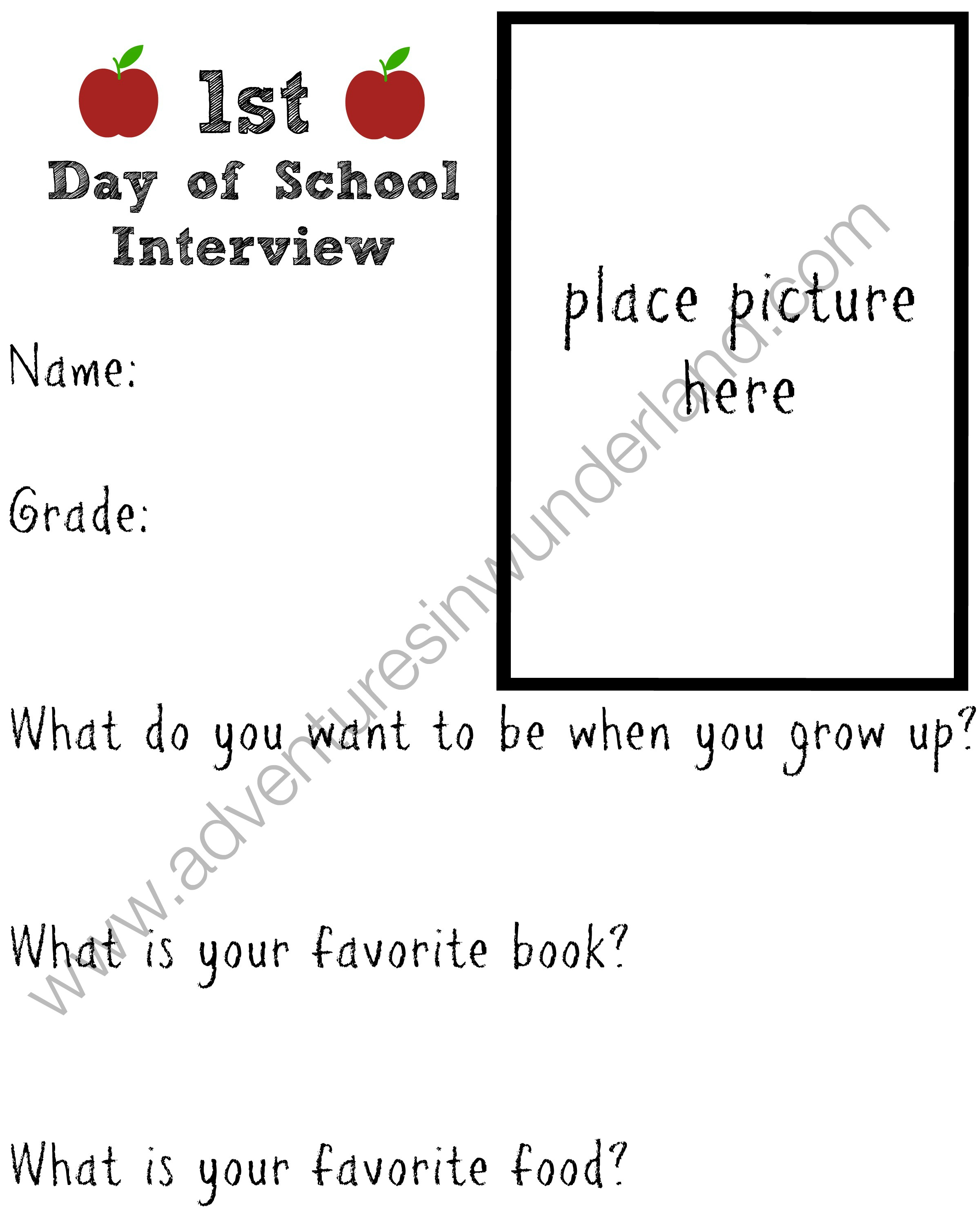 Printable First Day of School Interview