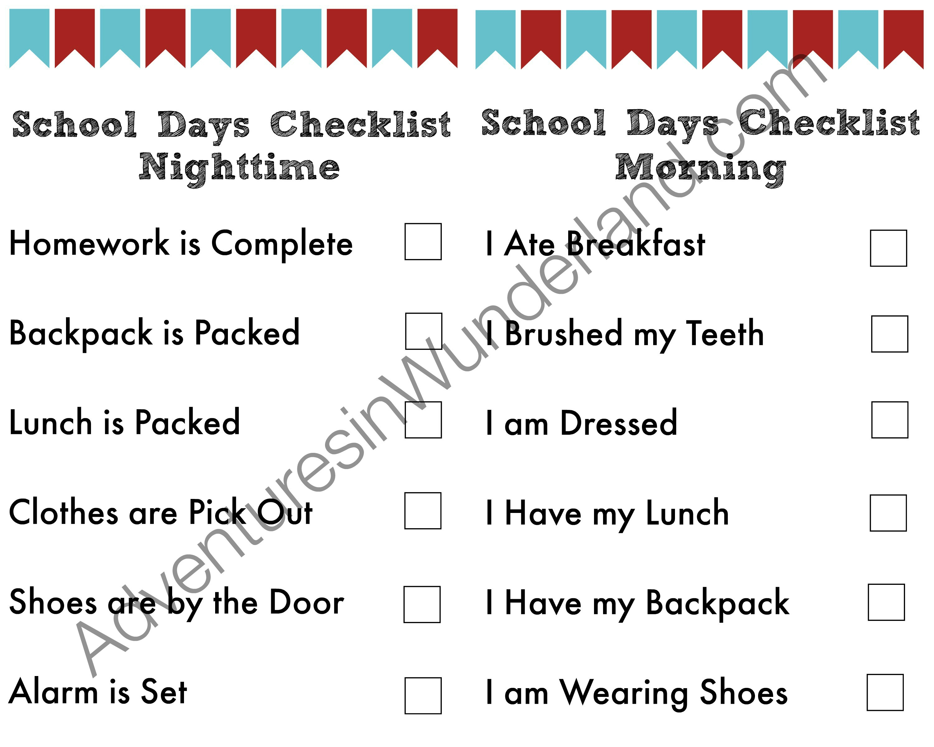 Printable Routine Checklist to make mornings less stressful