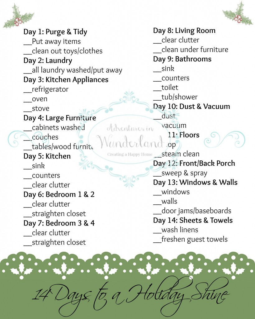holiday shine home cleaning schedule