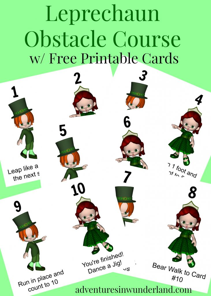 photo regarding Leprechaun Feet Printable called Leprechaun Challenge Training course for Children with Printable Playing cards