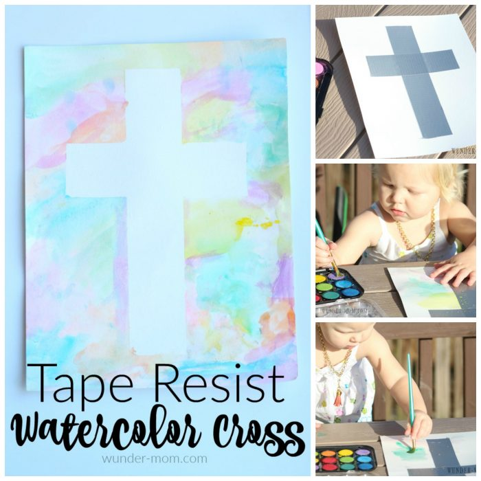 Tape Resist Watercolor Cross