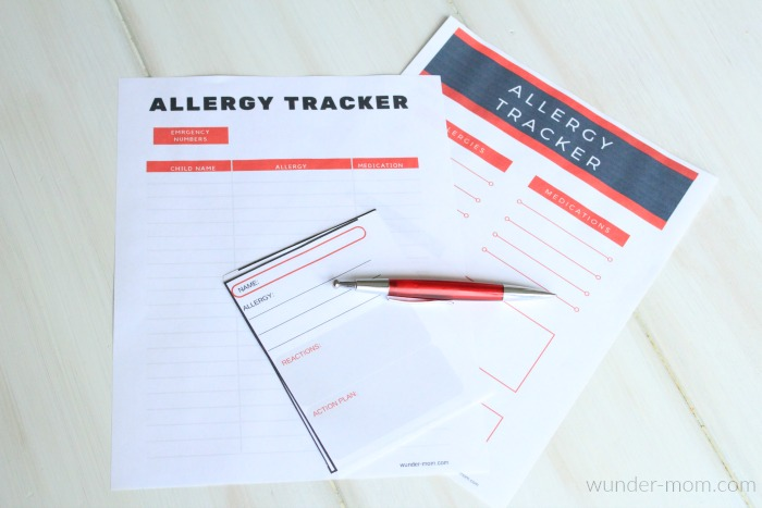 printable allergy tracker