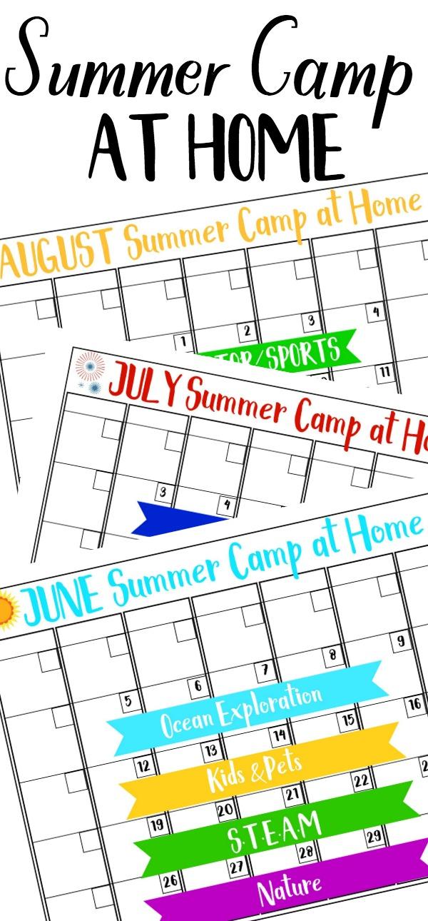 home summer camp calendar
