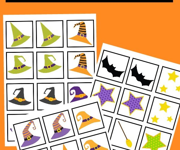 Witch Hat Halloween Memory Match Printable Game