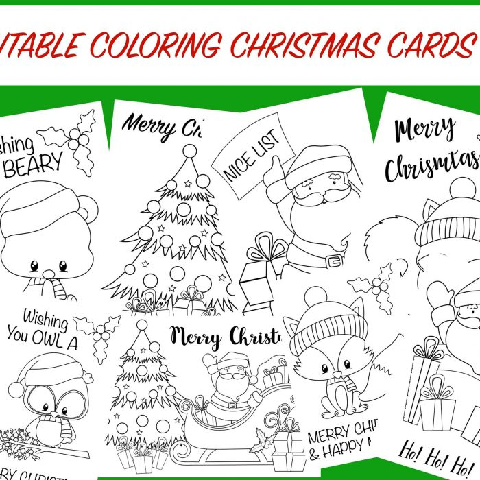 Christmas Coloring Cards – Free Printable Christmas Activity for Kids