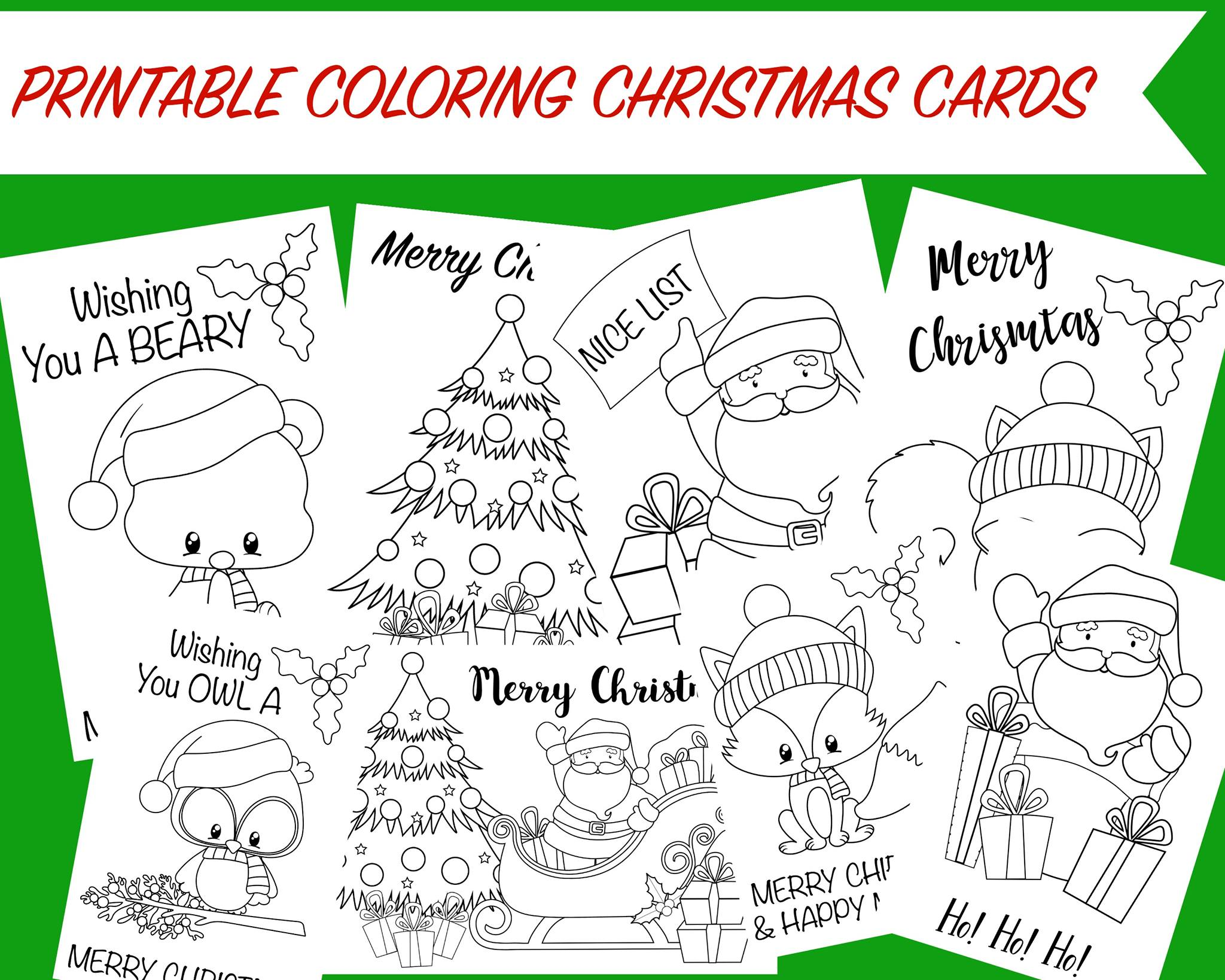 This is an image of Critical Printable Coloring Christmas Cards