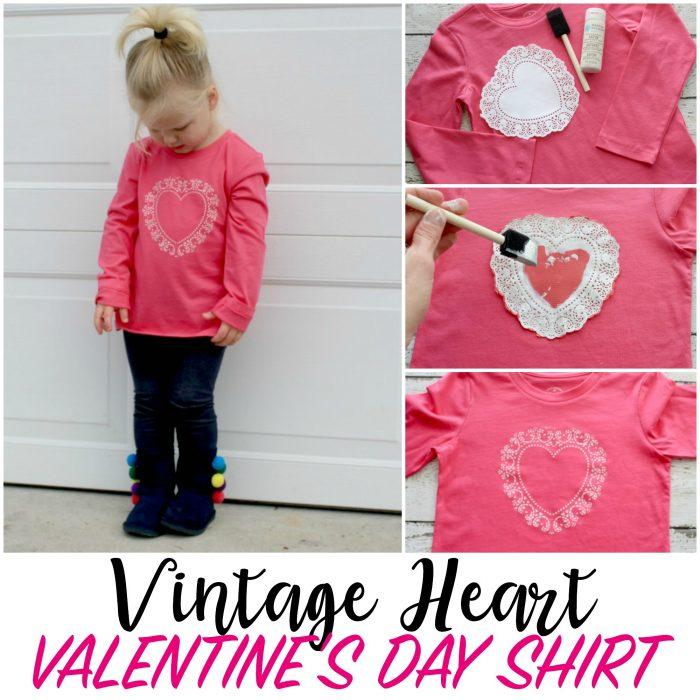 DIY Vintage Heart Shirt for Valentine's Day