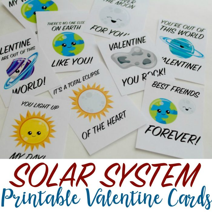 Solar System Printable Valentine's Day Cards for Kids