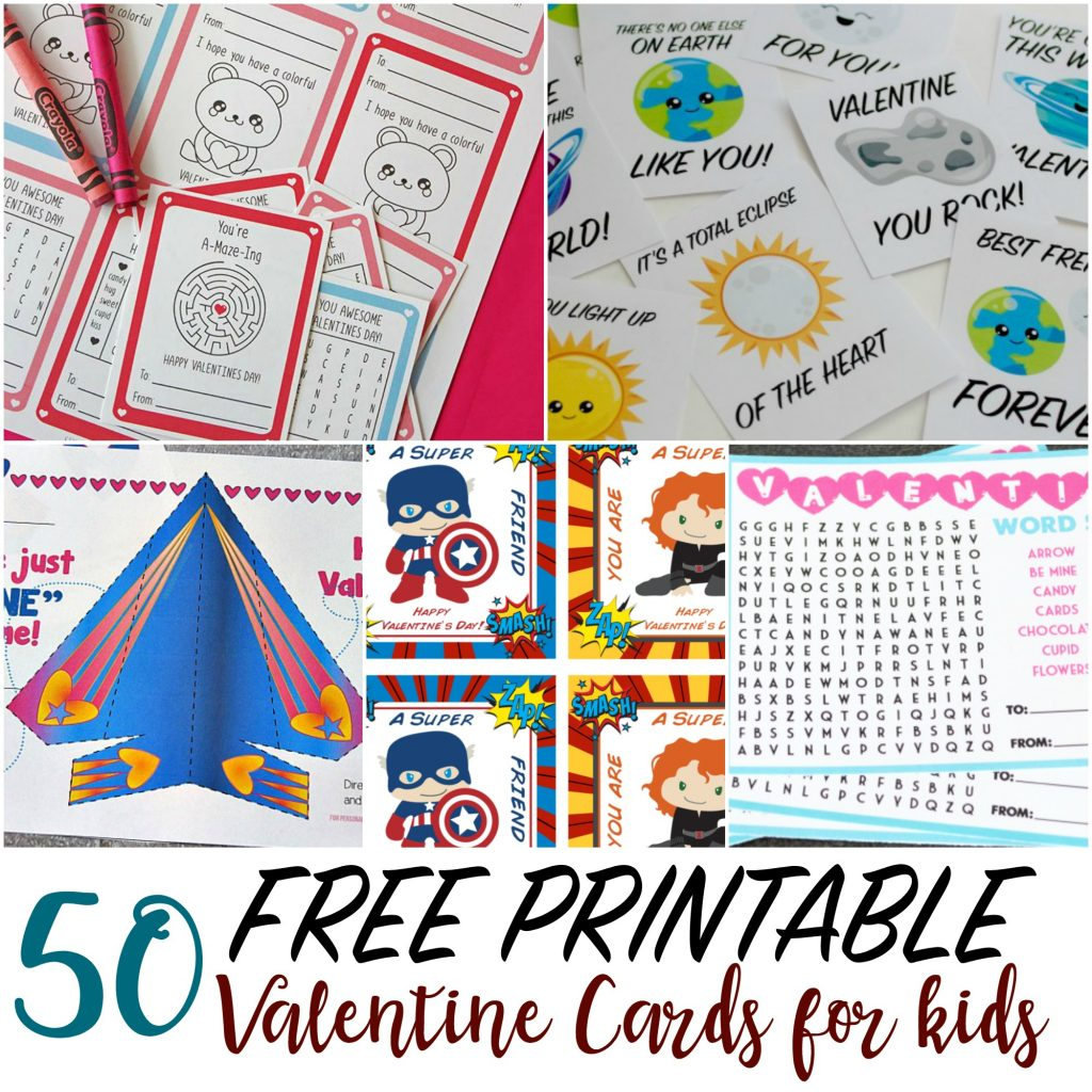 image about Printable Kid Valentines titled 50 Printable Valentine Playing cards for Children