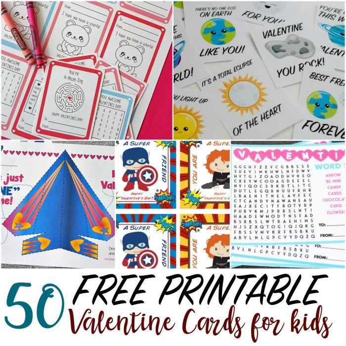 50 Printable Valentine Cards for Kids