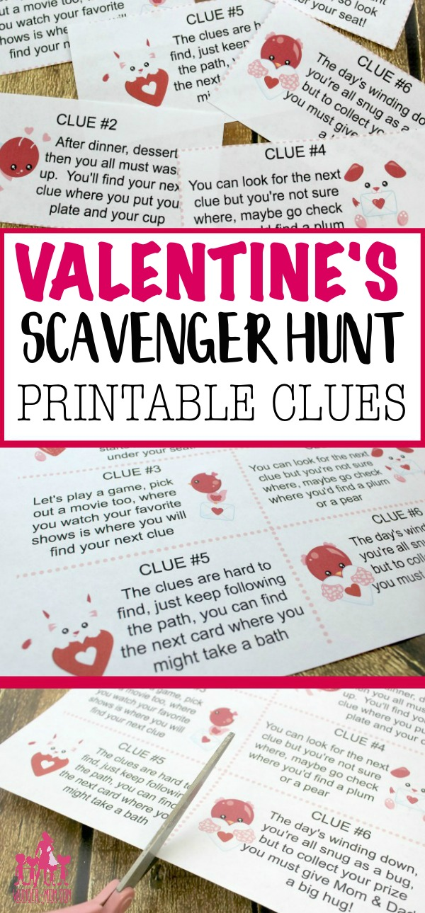 valentine's day scavenger hunt with printable clues #valentines #valentinesday #valentinesdayactivity #scavengerhunt #kidsvalentinesday #kidsactivities