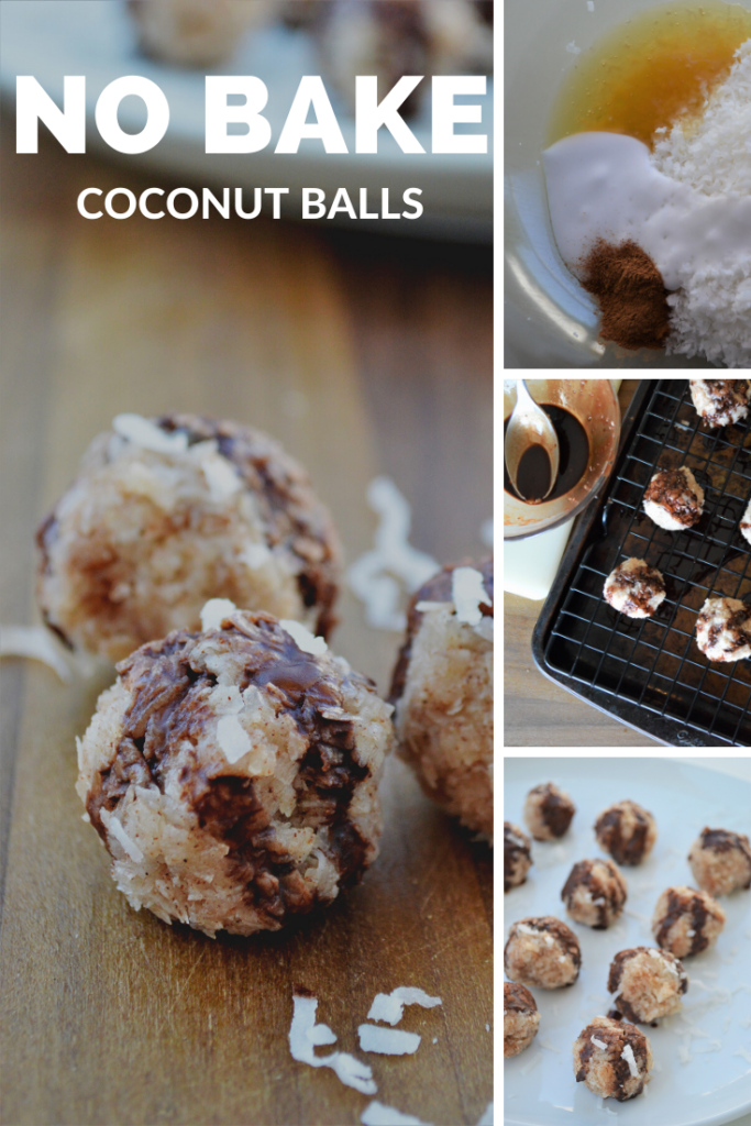 no bake coconut dessert balls are easy to make with only four ingredients and so delicious! Perfect for a post workout treat or just a bite sized dessert to satisfy your sweet tooth!