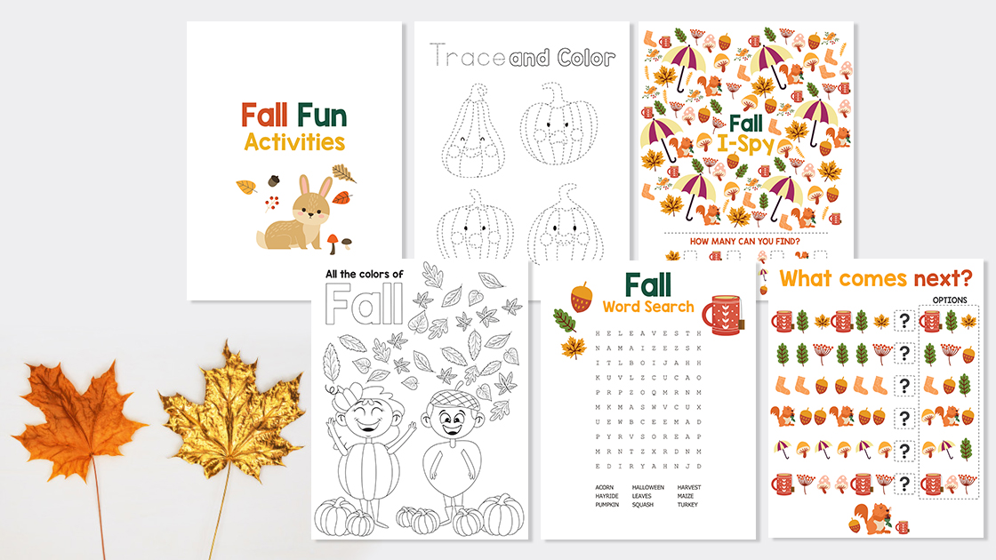 Fall printable kids activity pack