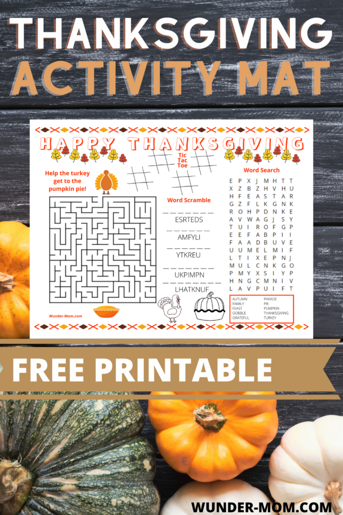 Free printable thanksgiving activity mat for kids