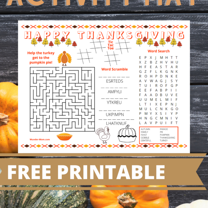 Printable Thanksgiving Activity Mat for Kids