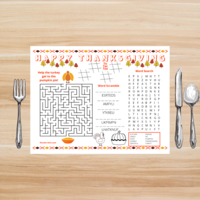 printable thanksgiving activity mat