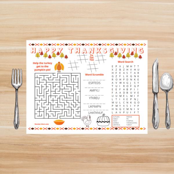 printable thanksgiving activity mat
