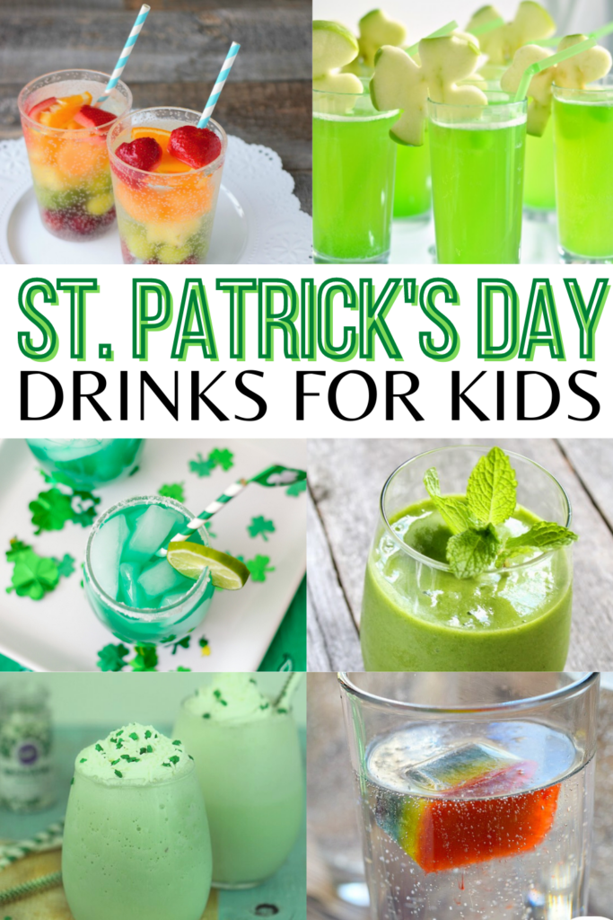 fun green and rainbow non-alcoholic st patrick's day drinks for kids